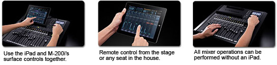 Use the iPad and the M-200i's controls toghether. Remote control from the stage or any seat in the house. All mixer operations can be performed without an iPad.