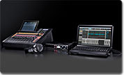 Image of the M200i and a laptop running DAW software for recordinig audio through the mixer to the computer.
