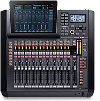 Image of Roland M200i digital mixer with an iPad sitting in the dock on the mixer. The iPad can control all the features on the M-200i