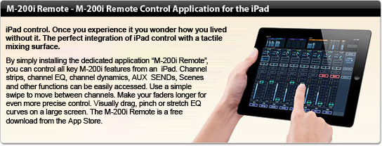 M-200i Remote Control Application for the iPad.