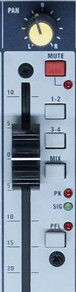 Close up photo of a pan control from a mixing console