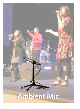 Image of an Aviom ambient pic superimposed over a scene showing a worhip leader signing into a handheld mic on stage