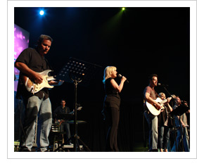 Worship band singing on stage
