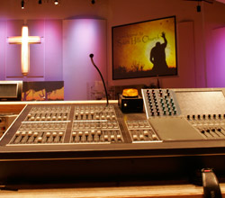 Yamaha digital mixer in a sanctuary