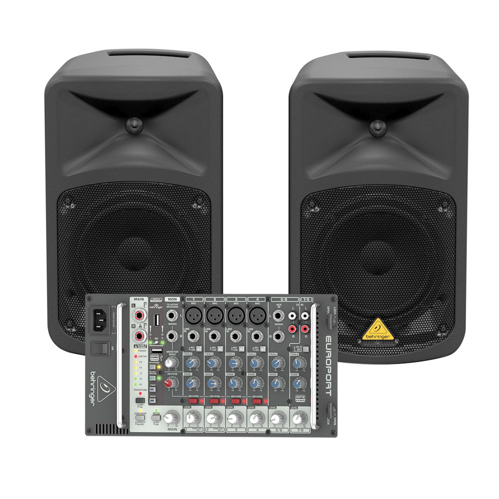 behringer europort eps500mp3 ultra compact portable pa system with dual speakers and. Black Bedroom Furniture Sets. Home Design Ideas
