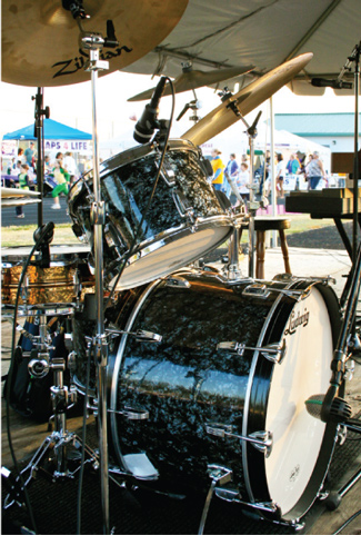 Drum Kit on Stage with Microphones