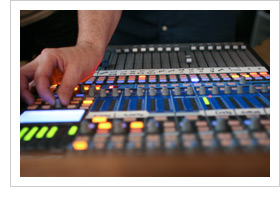 Close up view of PreSonus digital mixing board