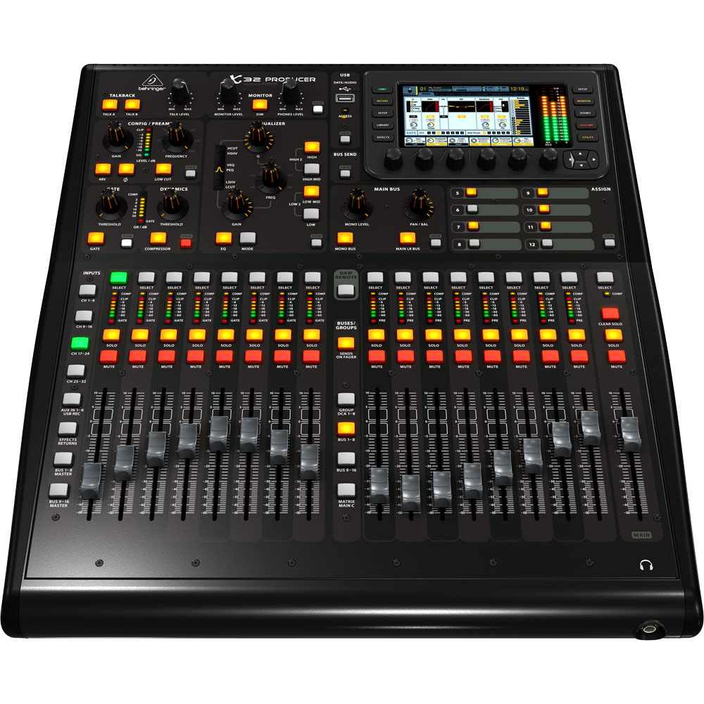 behringer x32 producer digital mixer with 40 inputs 16 midas preamps and 17 motorized faders. Black Bedroom Furniture Sets. Home Design Ideas
