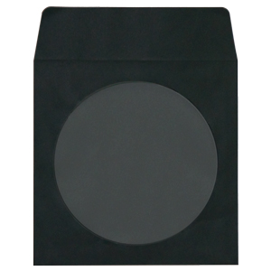 MediaSAFE Black Paper CD Sleeves with Window & Flap